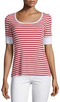Frame Boatneck Striped Tee, Red Stripe