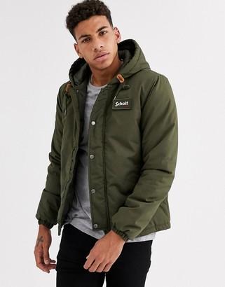 Schott hooded parka jacket in khaki-Green