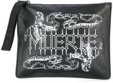 Marcelo Burlon County of Milan Mateo zip clutch bag - men - Cotton/Calf Leather - One Size