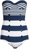 Dolce & Gabbana Stripe-print balconette swimsuit