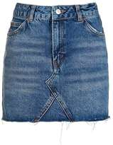 Moto denim high waist pelmet skirt