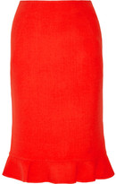 Oscar de la Renta Fluted Wool Pencil Skirt - Tomato red