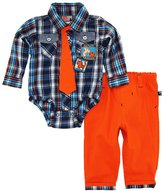 Dog Sport Baby Boys' Safari Animals Plaid Bodysuit with Tie 2Pc Pant Set