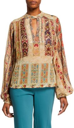 Etro Ribbon Floral Lace Print Peasant Blouse