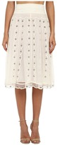RED Valentino Silk Organza Tulle Skirt w/ Eyelet and Polka Dots