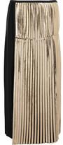 Stella McCartney Carmen Metallic-paneled Pleated Crepe Maxi Skirt - Black