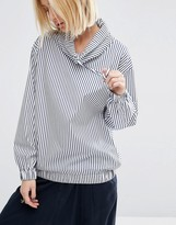 Asos Funnel Neck Pinstripe Tunic Top