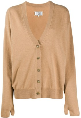 Maison Margiela Cashmere-Wool Mix Buttoned Cardigan With Thumb-Hole Detailing