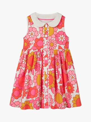Boden Girls' Woven Floral Collared Dress, Pink/White