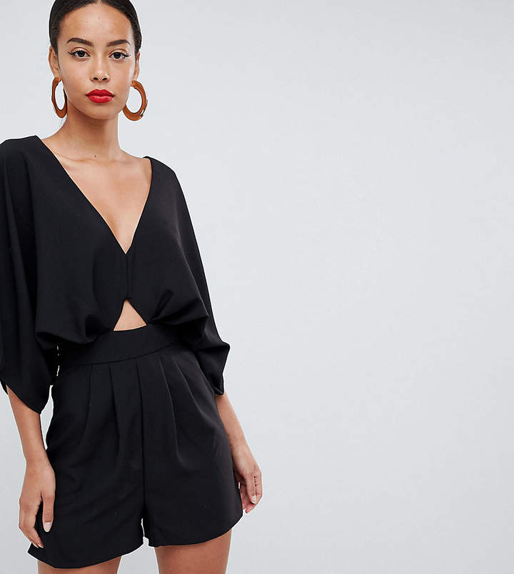 Asos Tall TALL Romper with Kimono Sleeve and Cut Out