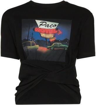 Paco Rabanne motel print gathered T-shirt