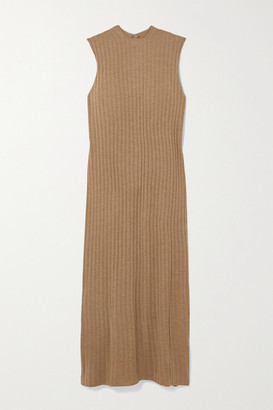 LOULOU STUDIO Andrott Ribbed Melange Wool And Cashmere-blend Maxi Dress - Brown