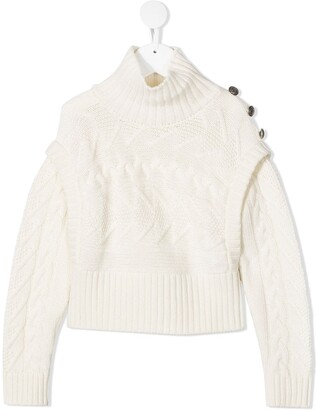 Dondup Kids Roll-Neck Cable Knit Jumper