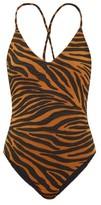 Mara Hoffman Emma Tiger-jacquard V-neck Swimsuit - Womens - Brown Print