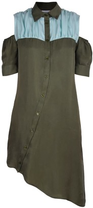Blonde Gone Rogue Asymmetry Sustainable Dress In Green