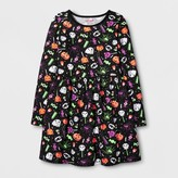 Cat & Jack Girls' Long Sleeve Halloween Printed Dress - Cat & Jack Black