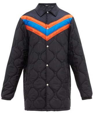 Gucci Chevron-striped Quilted Jacket - Navy