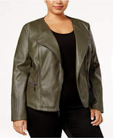 Alfani Plus Size Faux-Leather Moto Jacket, Created for Macy's