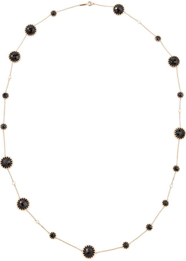 "Ivanka Trump Rose Gold Chain with Black Onyx and Diamonds, 36"""