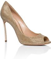 Casadei Open Toe Glitter Fabric Shoe W/ Pearl Heel 100mm
