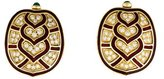 Judith Leiber 18K Diamond & Enamel Tortoiseshell Earrings