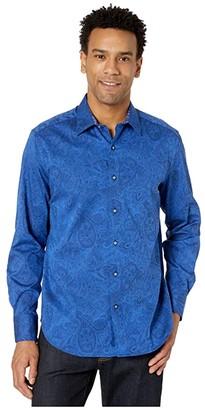 Robert Graham Andretti Button-Up Shirt (Navy) Men's Clothing