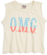 Junk Food Clothing &OMG& Graphic Muscle Tee (Little Girls & Big Girls)