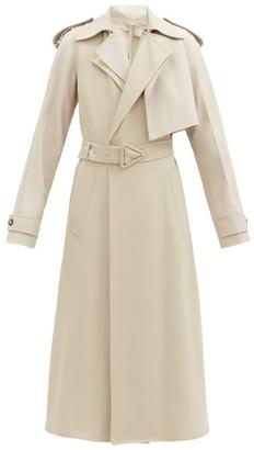 Bottega Veneta Asymmetric Leather-panelled Twill Trench Coat - Beige
