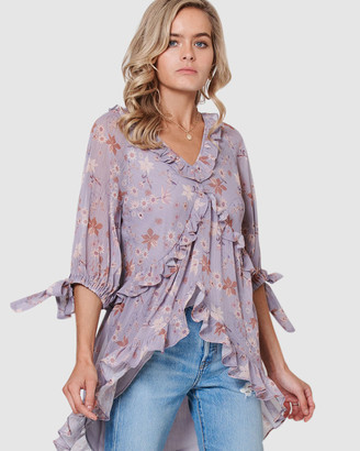 Three of Something Gatsby Floral Misty Blouse