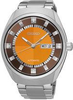 Seiko Recraft Mens Stainless Steel Orange Automatic Bracelet Watch