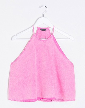Noisy May co-ord halterneck swing top in pink acid wash