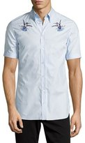 Alexander McQueen Embroidered Hummingbird Short-Sleeve Sport Shirt, Light Blue