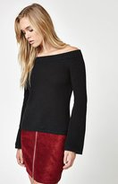 La Hearts Off-The-Shoulder Bell Sleeve Sweater
