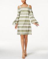 Nine West Cotton Printed Cold-Shoulder Dress
