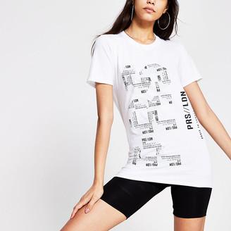 River Island White mono printed Longline t-shirt