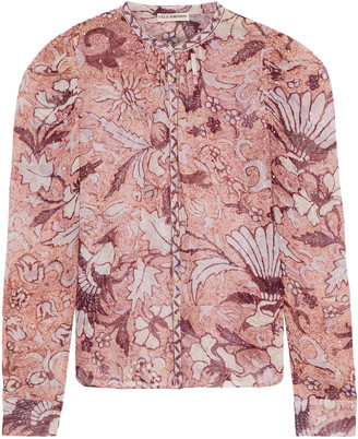 Ulla Johnson Cassia Printed Fil Coupe Silk And Lurex-blend Blouse