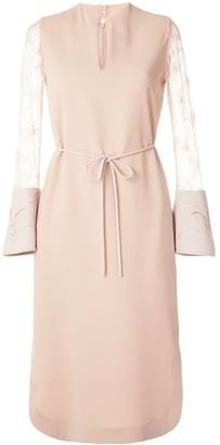 Lace Sleeve Tie Waist Dress