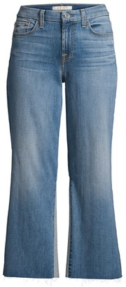JEN7 by 7 For All Mankind Sculpting Contrast Wide-Leg Cropped Jeans