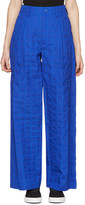 Issey Miyake Blue Crumpled Grid Trousers