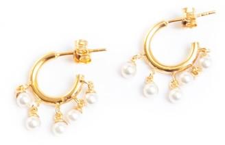 Seol + Gold Pearl Charm Hoop Earrings