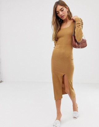 Asos Design DESIGN square neck knitted midaxi dress with volume sleeve-Brown