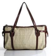Hogan Brown Beige Leather Trimmed Canvas Large Tote Shoulder Handbag