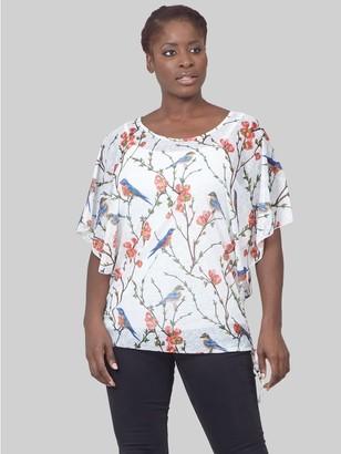 M&Co Izabel Curve bird print tie side t-shirt