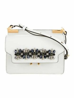 Marni Embellished Leather Crossbody Bag w/ Tags White