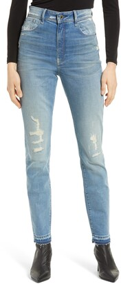 G Star Kafey Distressed Ultra High Waist Released Hem Skinny Jeans