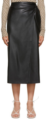 Nanushka Black Vegan Leather Amas Wrap Skirt