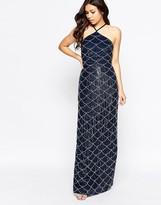 Maya Halter Neck Embellished Maxi Dress