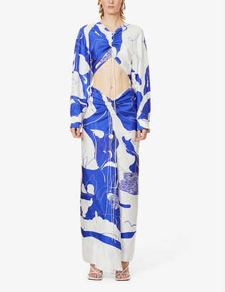 CHRISTOPHER ESBER Disconnect printed silk-twill maxi dress