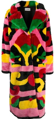 Kirin Abstract-Print Faux Fur Coat