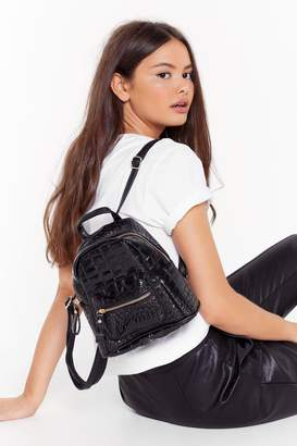 Nasty Gal Womens WANT Just Can't Croc Faux Leather Backpack - black - One Size